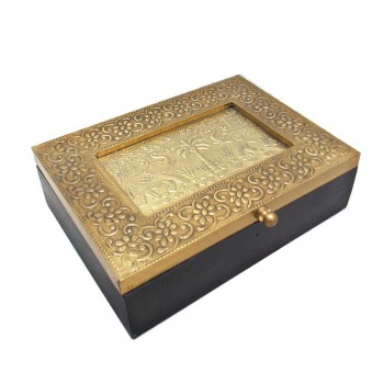 Elephant Box - Brass Wood Craft - Two Partitioned