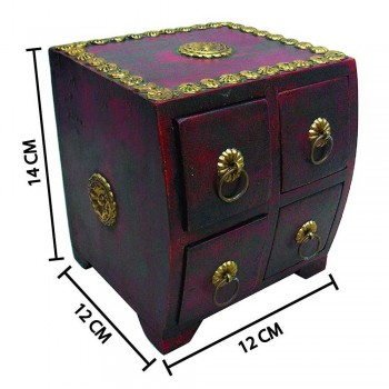 Polished Wooden Four Drawers Mini Chest - Embossed Brass Artwork