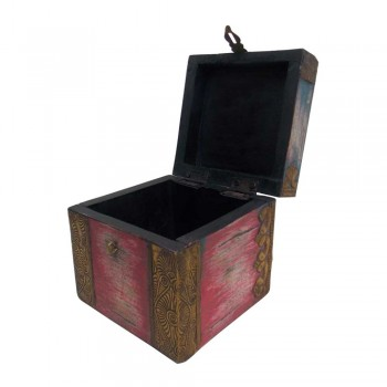 Distressed Painted Square Wooden Box - Antique Brass Artwork