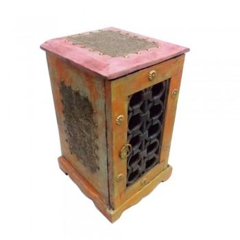 Hand Carved Jali Artwork Wooden Mini Cabinet - DVD Rack