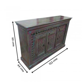 Wooden Carved Side Board - Blue/ Pink Distressed