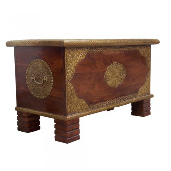 Wooden Treasure Box - Polished & Brass Artwork