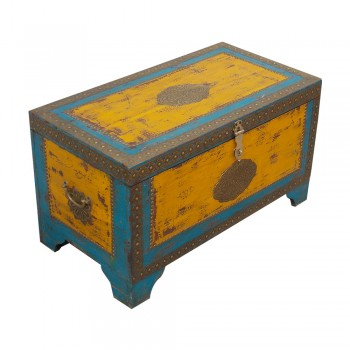 Treasure Box / Pitara Yellow Blue Rustic Finish Brass Art