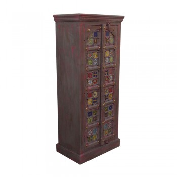 Wooden Carved Arched Vertical Cabinet - Ceramic Tiles & Blue/ Pink Distressed