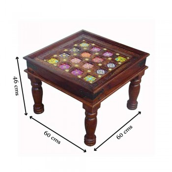Ceramic Tile Art Brass Fitted Square Wooden Center Table
