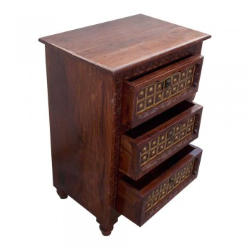 Rajwada Style Hand Carved Wooden Chest of Three Drawers with Decorative Brass Fittings.