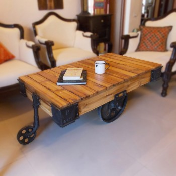 Industrial Cart - Coffee Table on Wheels with Rugged Industrial Elements