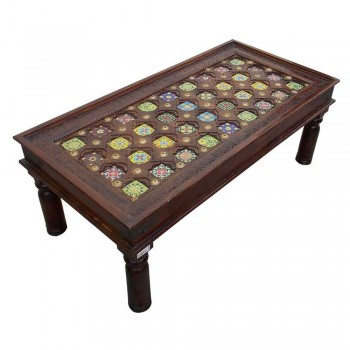 "Ceramic Tile Art & Brass Fitted Hand Carved Wooden Table - 47""x24"""