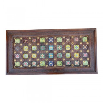 """Ceramic Tile Art & Brass Fitted Hand Carved Wooden Table - 47""""x24"""""""