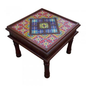 "Ceramic Tile Art Square Shaped Wooden Center Table - 24""x24"""