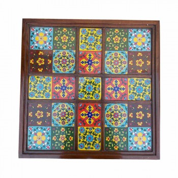 "Ceramic Tile Art Square Shaped Wooden Center Table - 24""x24"""