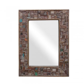 Reclaimed Wood Mosaic Mirror Frame.