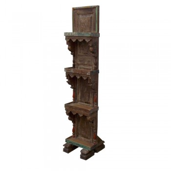 Reclaimed Carved Wooden Shelved Stand