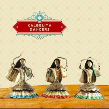 Kalbeliya Dancer Golden Theme Set of Three