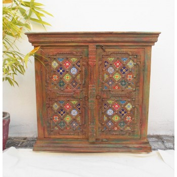 Multi-Color Distressed Tile Cabinet