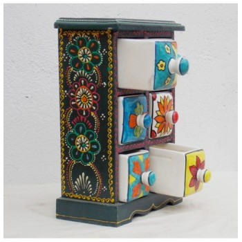 6 Drawers Ceramic drawers Mini Chest Painted