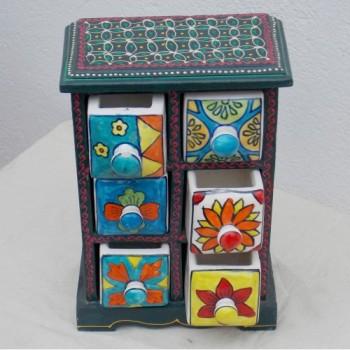 6 Drawers Ceramic drawers Mini Chest Painted
