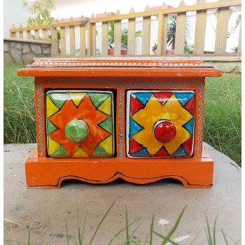 Two Ceramic Drawers Wooden Mini Chest - Assorted