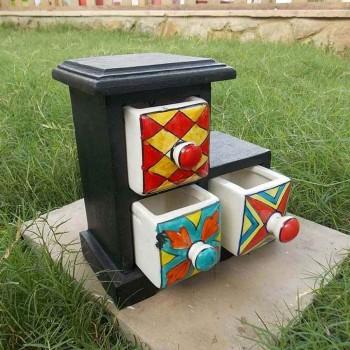 3 Ceramic Drawers Wooden Mini Chest Black Polished L Shaped