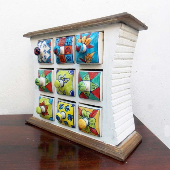 9 Ceramic Drawers White Painted Wooden Mini Chest
