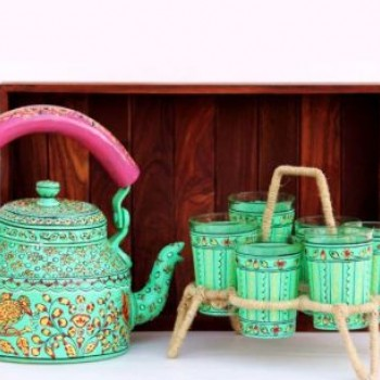 Hand Painted Tea Kettle with Glass Set