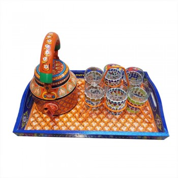 Hand Painted Tea Kettle, Tray & Glasses Set