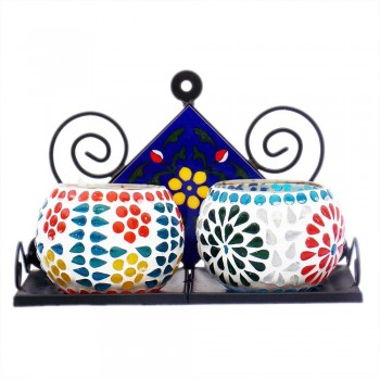 Iron-Ceramic Tile Double Stand