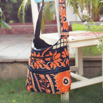 Floral Elegance Bag, Orange & Black