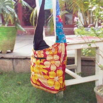Floral Elegance Bag, Mustard & Red