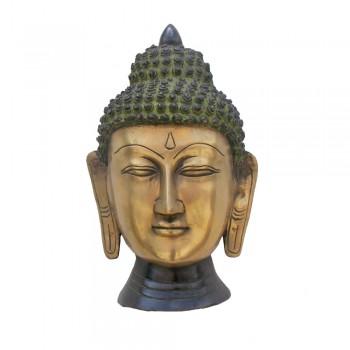 Brass Buddha head Wall Mounted  - Greenish