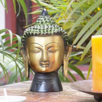 Brass Buddha Head Green