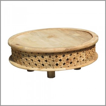 Hand Carved Low Table - Light Natural Polished (Coffee Table)