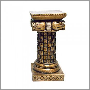 """Antique Mettalic Checks Wooden Pillar 24"""""""
