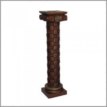 """Antique Mettalic Checks Wooden Pillar 36"""""""