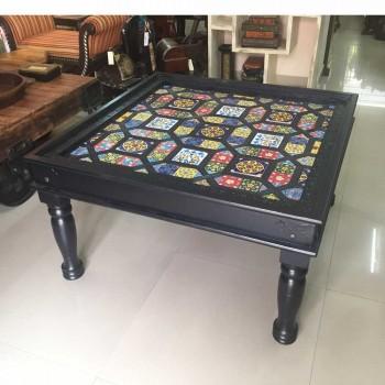Wooden Table Tile Art