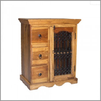 Chest of 3 Drawers with Iron Grill Shutter