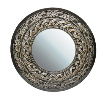 Metal Cladded Wooden Carved Mirror Frame