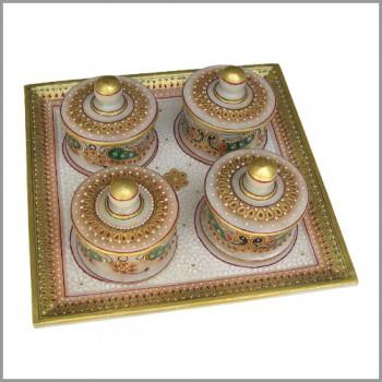 4 Bowl multicolour Marble Tray Set