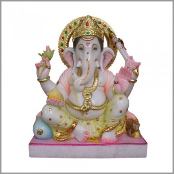 Marble Colorful Lord Ganesha Statue