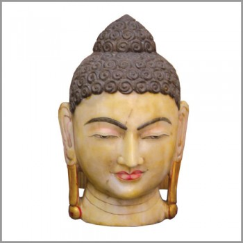 Marble Colorful lord Buddha Head Statue