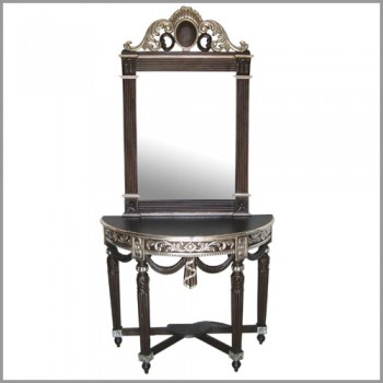 Metal Embellished and Polished Console and Mirror