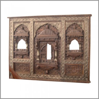 Metal Embellished and Polished 3 Jharokha Panel
