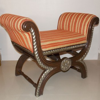 Teak Wood Roman Seater with Metal Artwork