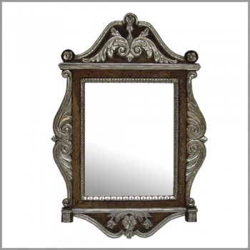 Metal Embellished Wooden Carved Jharokha Mirror Frame