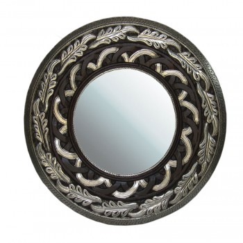 Metal Embellished and Polished Wooden Carved Mirror Frame