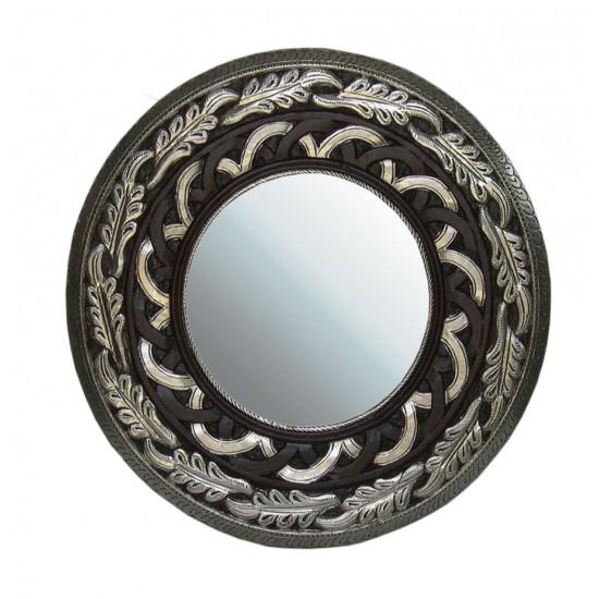 Metal Embellished and Polished Wooden Carved Mirror Frame