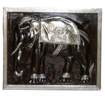 Carved Elephant Wall Panel