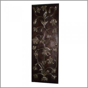 Floral Silver Art Wooden Wall Panel