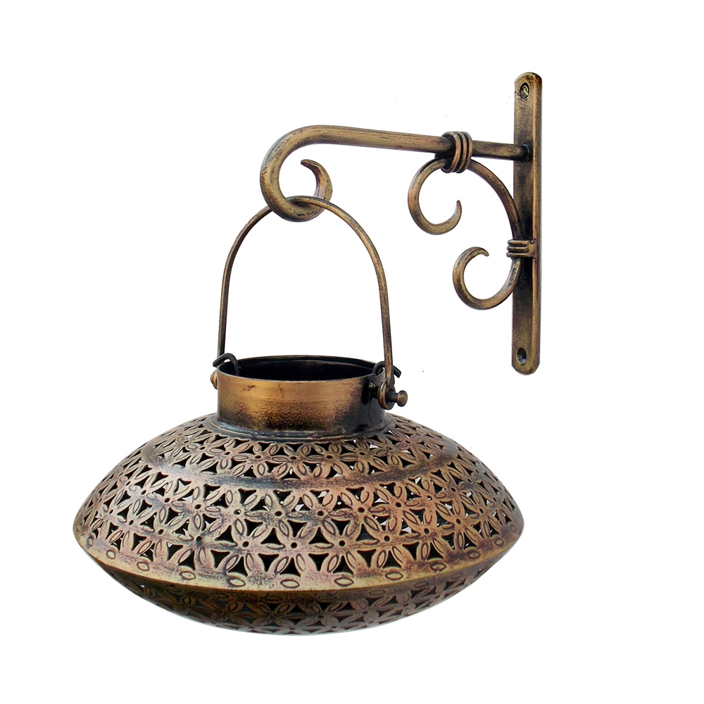 Degchi-Shaped Sconce Tea-Light Holder with Wall Bracket