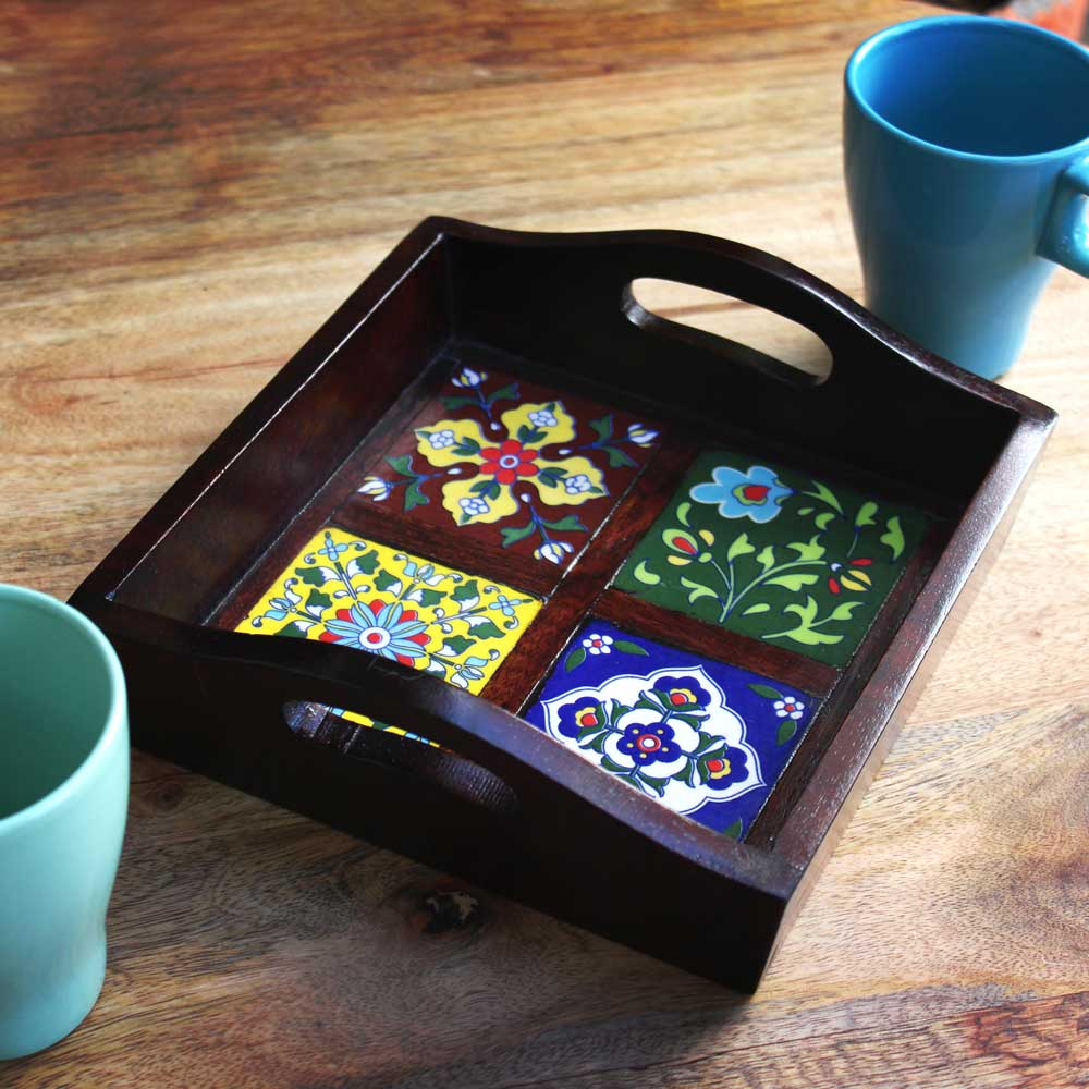 Ceramic-Blocked Wooden Serving Tray (with 4 Ceramic Tiles)